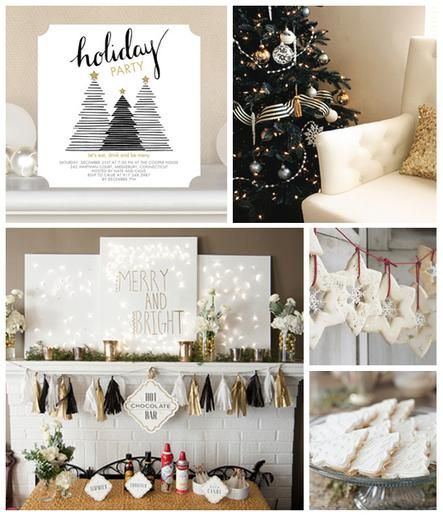 'Tis the season! Here is some #Christmas party inspiration. Black, white and gold.