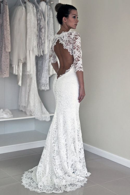 Vintage Mermaid Scoop Keyhole Back Lace Long Seeves Wedding Dress With Appliques