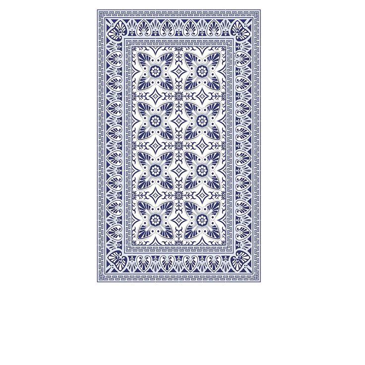 Tapis Vinyle - Bella - Bleu & Blanc - 70 x 180 cm - Beija Flor