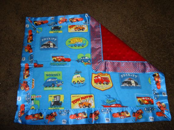 Disney CARS Baby Boy Flannel & Minky Mini Security Lovie Snuggle Blanket w/Satin Binding