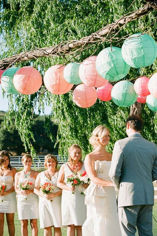 Paper lanterns hanging inside the tent