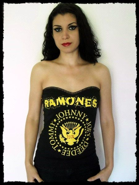 Ramones Strapless Top shirt Corset SM by kittyvampdesigns on Etsy, €43.00