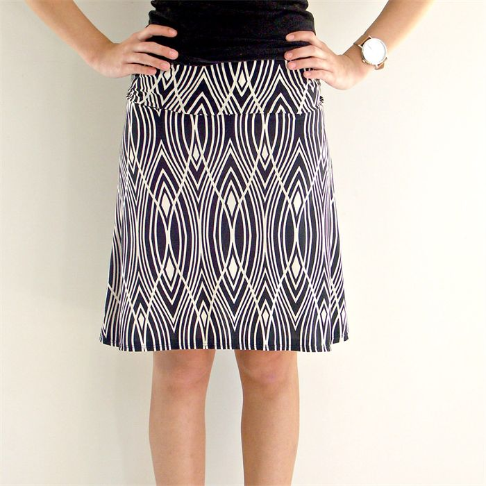 Black and White Art Deco Women's Skirt