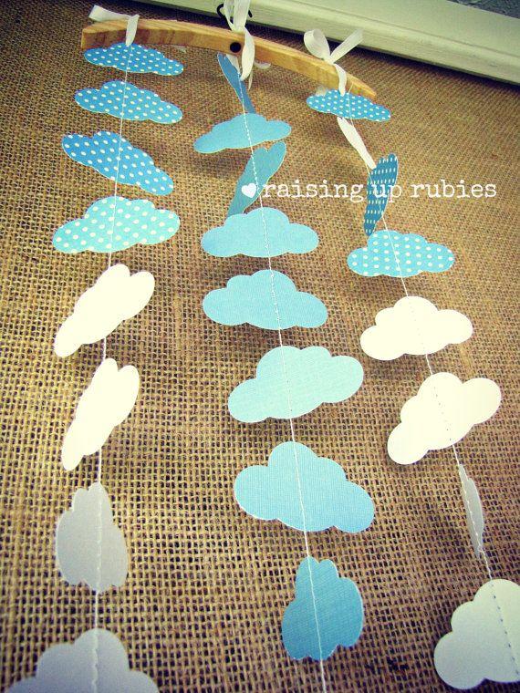 paper garland - clouds & polka dots - nursery baby shower decor. $16.00, via Etsy.