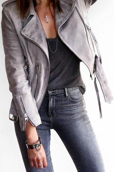 shades of grey. leather jacket + denim.