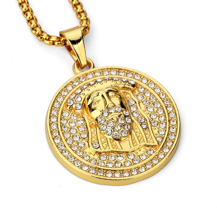 Gold plated necklaces 681 pinterest 2017 mens jewellery jesus pendant men necklace hip hop jewelry gold plated chain necklace vintage accessories mozeypictures Gallery