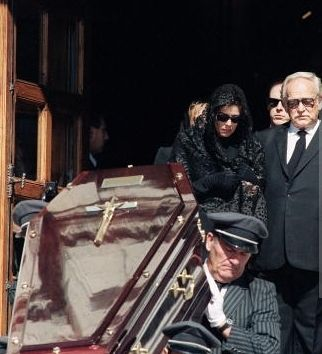 Coffin of Stefano Casiraghi leaving the church after burial Mass, followed by Princess Caroline and her father Prince Ranier