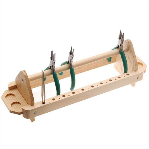 WOODEN PLIER AND TWEEZERS STAND TOOL RACK FOR JEWELERS HOLDS 12 PLIERS from beadaholique.com