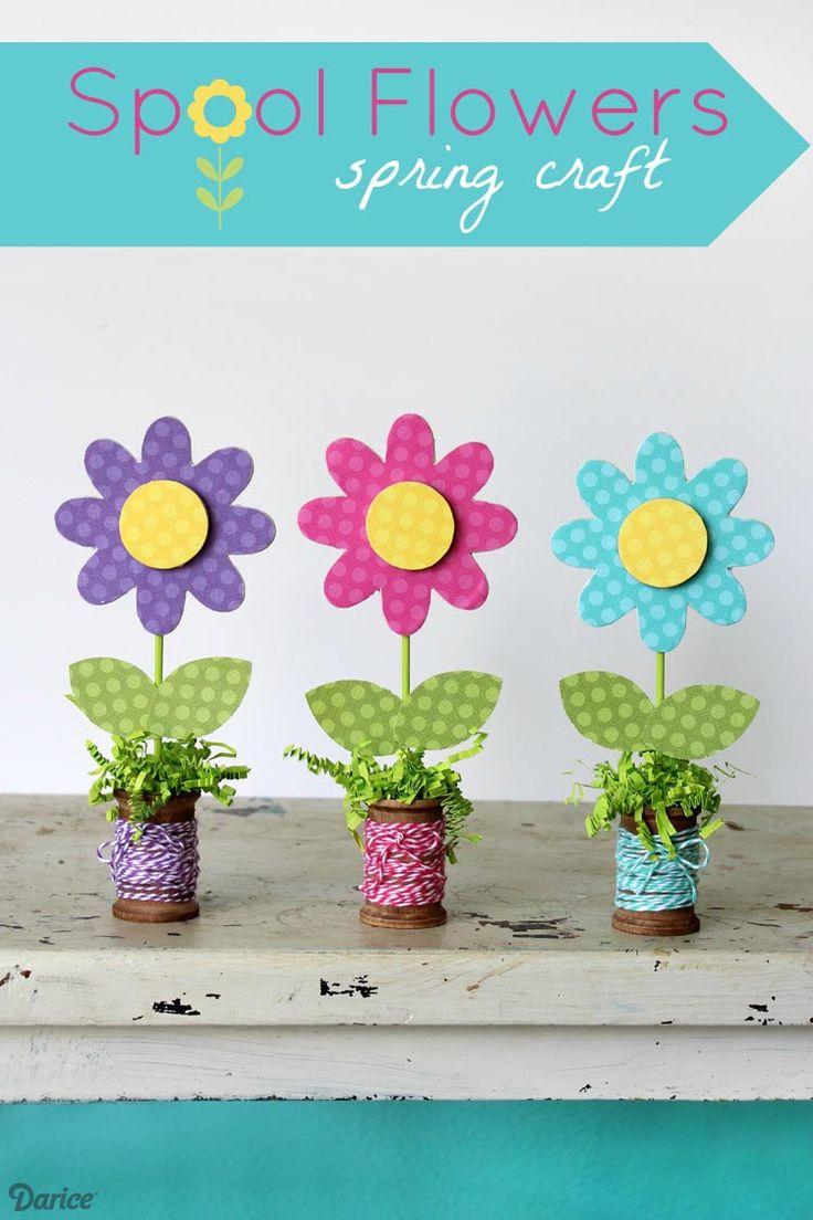 Wooden Spool Flowers Spring Craft