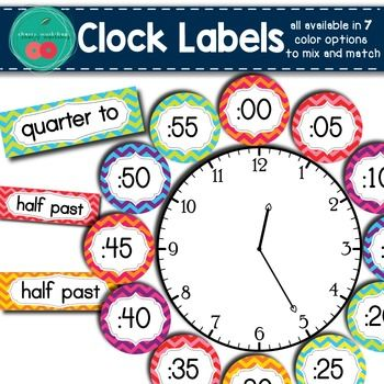 Clock Labels Chevron Clock Labels Get this in a BUNDLE ++++++++++ that saves you more than 50% Brighten up your room with these colorful chevron clock labels.