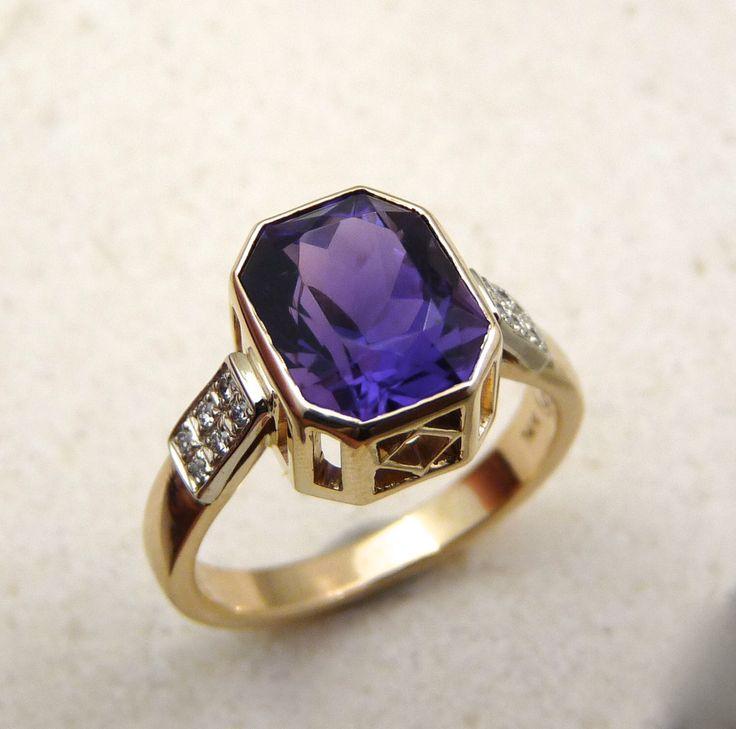AAA fine amethyst ring gold, African Amethyst ring, purple stone ring, amethyst & diamond ring, deep purple stone ring, purple stone ring by Baiwy on Etsy https://www.etsy.com/listing/237285023/aaa-fine-amethyst-ring-gold-african