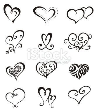 Heart Shaped Vector Elements For Design Or Tattoo Tatou