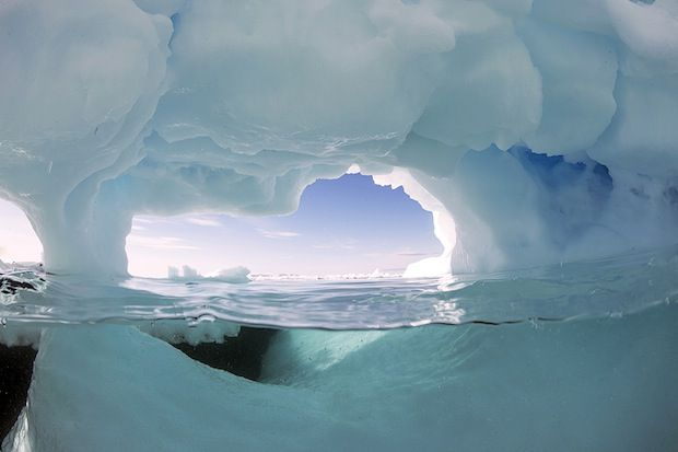 The north pole with water temps around 28 degrees.