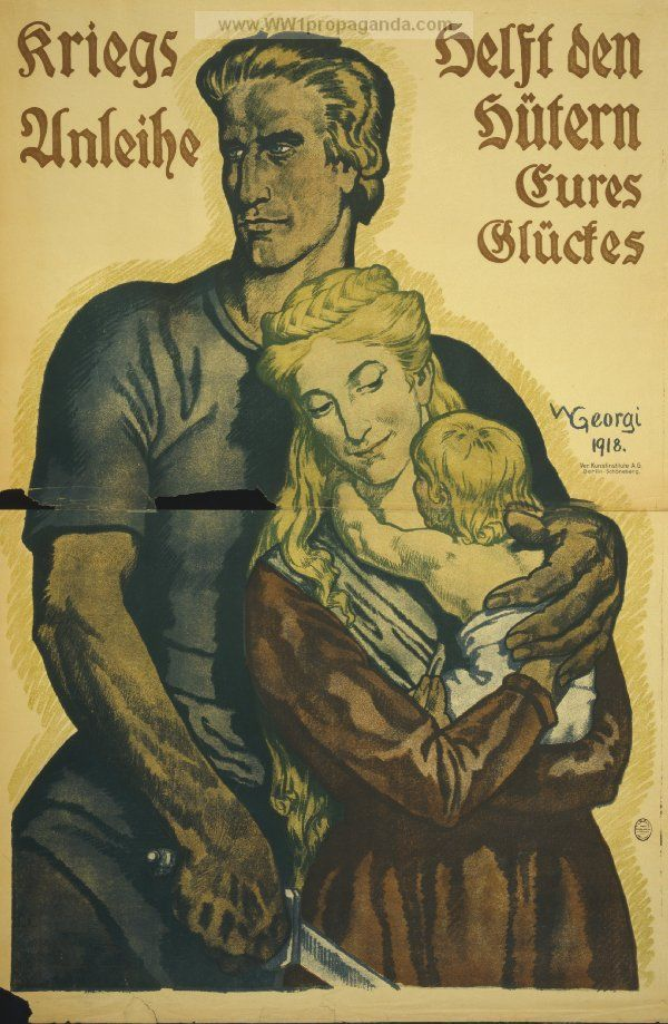 German poster: War loans help the guardians of your happiness.