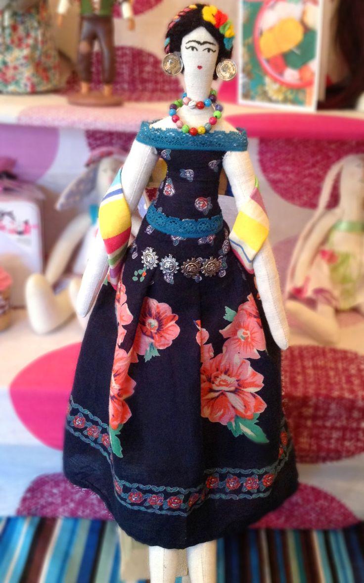 Frida Kahlo Doll - Art Doll - Cloth Doll - Rag Doll. £40.00, via Etsy.