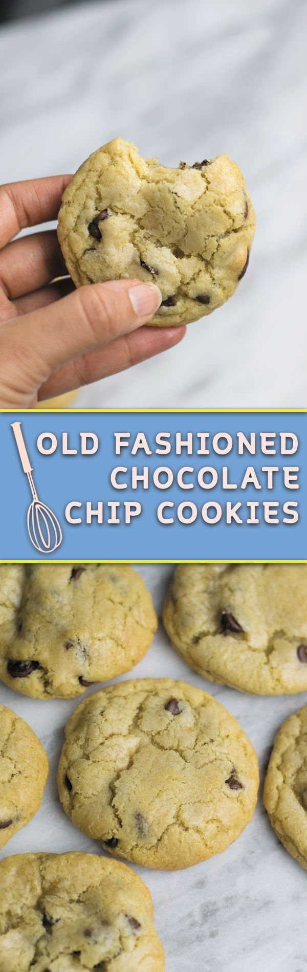 Old Fashioned Chocolate Chip Cookies - no fancy ingredient list, just few simple steps, the BEST softest thick & CHEWY cookies in town!