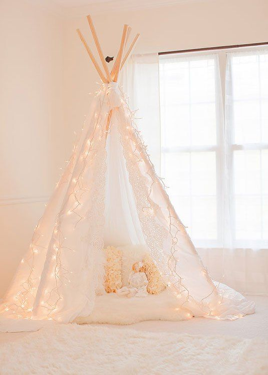 teepee with lights! So girly & cute: an indoor version of the one I pinned for our cookout.