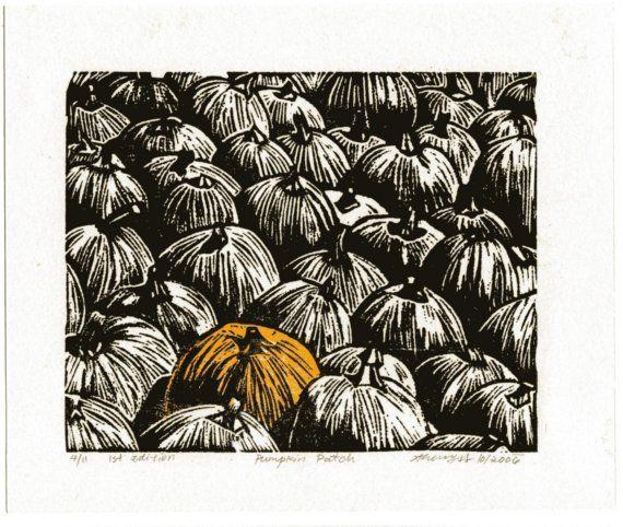 Linocut Linoleum Cut Print of a Pumpkin Patch Originally 20 now only 10 dollars on Etsy, $10.82 AUD
