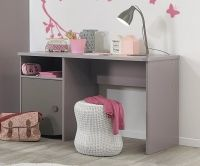 Gami Lilly Desk - 1 Door #Desk #1Door  Frame in Smoked Pink foiled particleboard, edges with same. Some fronts in Lilac Pink and dark Grey-Pink melamine-coated particleboard. Mirror with clear silvered and screen-printed glass. Drawer frames made from particleboard covered with fabric-effect polypropylene mounted on Grey roller drawer runners. Dimensions:W 126cm x D 60cm x H 75cm Assembly:Flat Packed