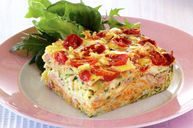 This substantial slice makes a satisfying and nutritious meal for the whole family.
