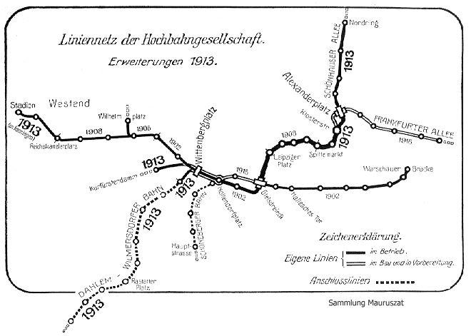 U-Bahn Berlin Liniennetz der Hochbahngesellschaft,Erweiterungen 1913