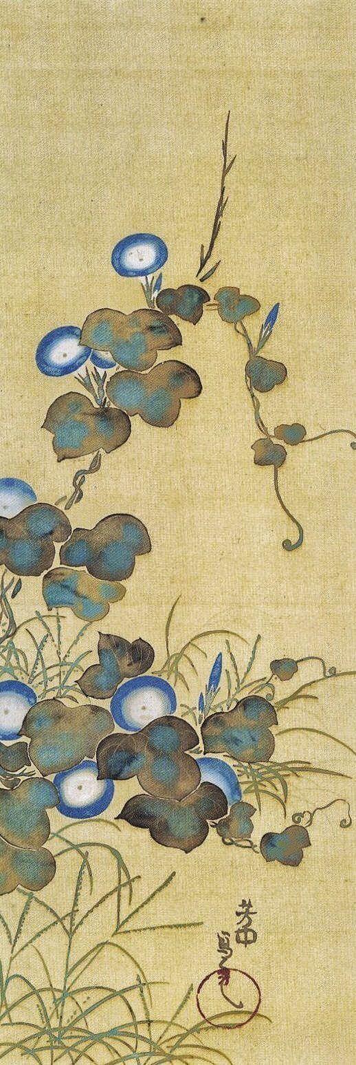 Sakai Hoitsu. Morning Glories. Japanese hanging scroll.