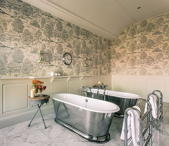 Create A Modern Country Style In Your Bathroom With Royal Oak Wallpaper By Lewis Wood