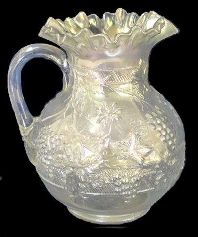 Dugan Floral & Grape White Carnival Glass Pitcher