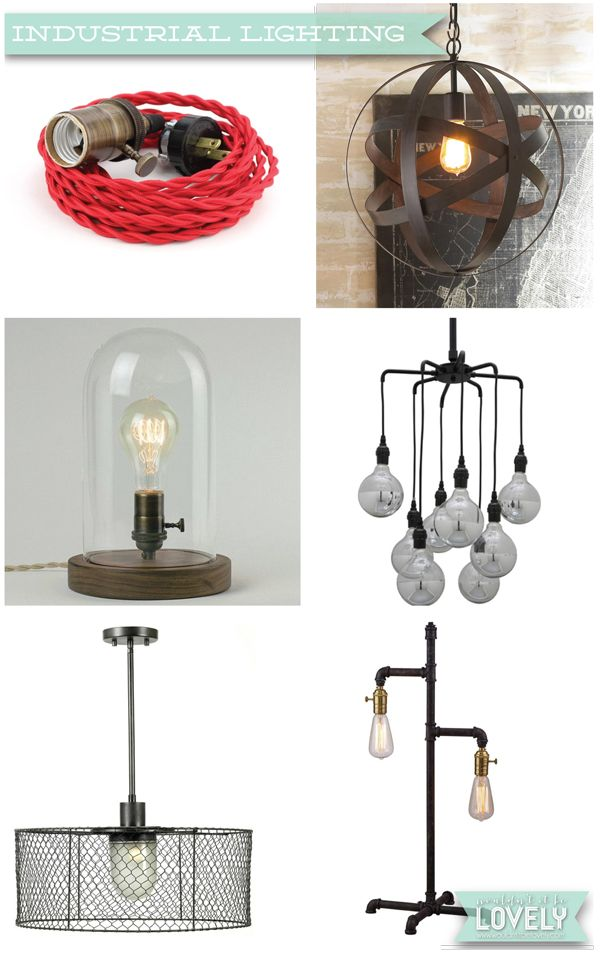 Industrial style lighting, industrial and rustic home decor, ceiling lights and sconces, Wouldn't it be Lovely
