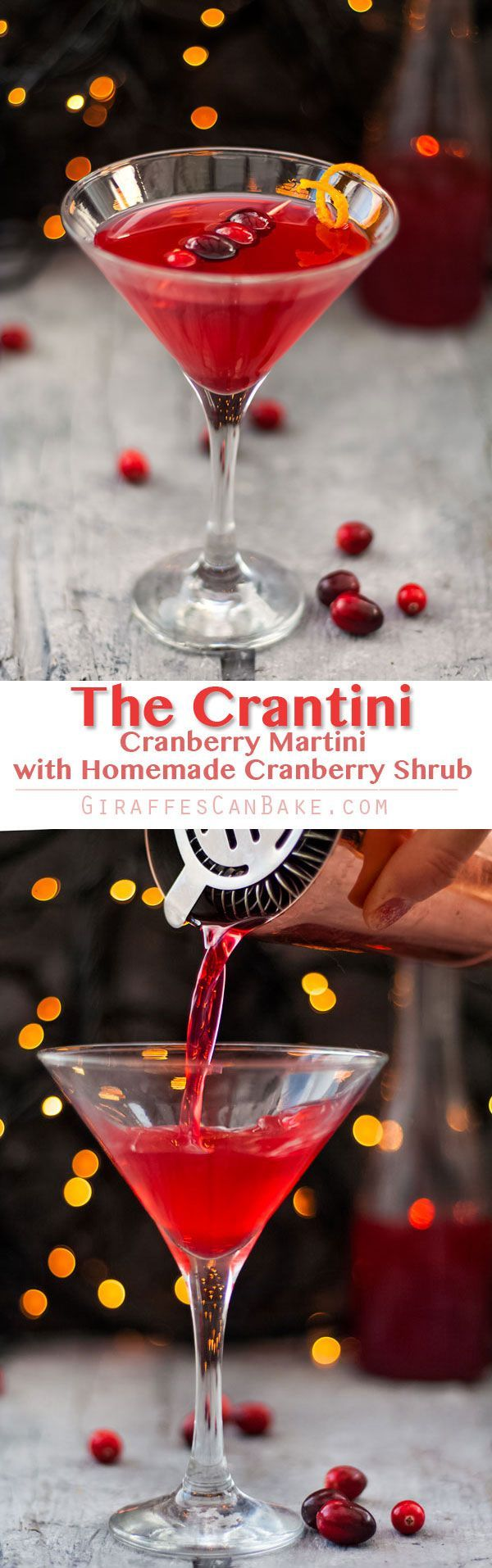 The Cranberry Martini is a sweet and slightly tart festive cocktail, made with a homemade cranberry shrub to give it a little bit of zing #cocktails #crantini #mixology #christmas via @giraffescanbake