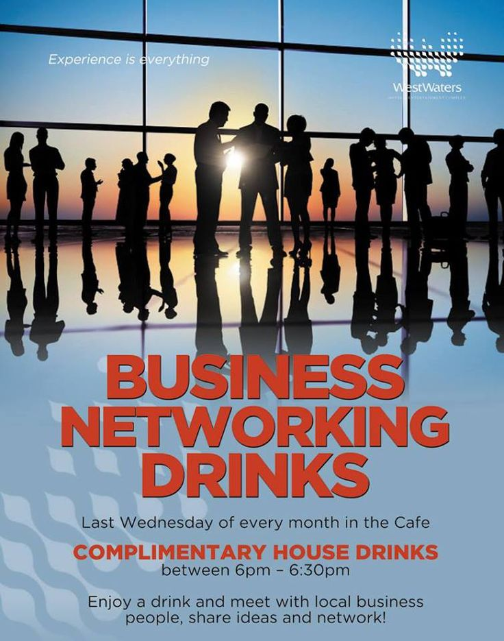 It's on again! Next Wednesday join us in the Café for our monthly Business Networking Drinks. Enjoy complimentary drinks while meeting local business people.