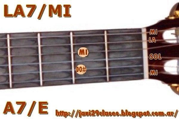 Acorde de guitarra LA7/MI = A7/E