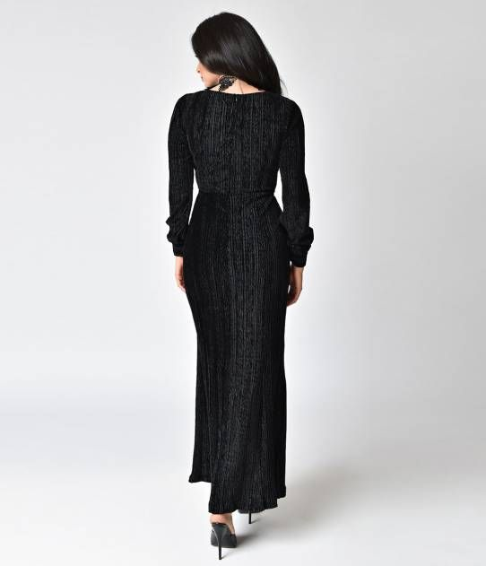 Voodoo Vixen 1930s Style Jet Black Velvet Long Sleeve Maxi Dress