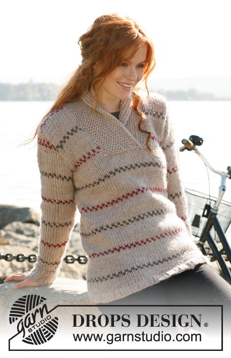 "Knitted DROPS jumper for women with stripes and shawl collar in ""Eskimo"". Size S-XXXL Free pattern by DROPS Design."
