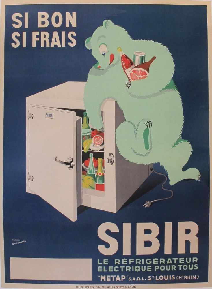 1930s original vintage french art deco poster frigo sibir jean baches artdeco byrrh and. Black Bedroom Furniture Sets. Home Design Ideas