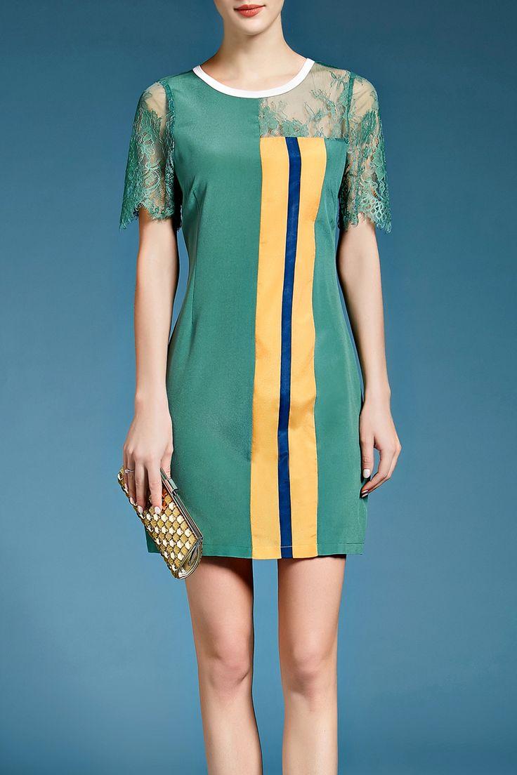Lace Inset Silk Dress