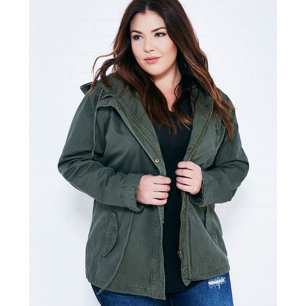 Ambiance Apparel Hooded Utility Jacket ($35) ❤ liked on Polyvore featuring plus  size women's - Best 25+ Plus Size Outerwear Ideas On Pinterest Women's Evening