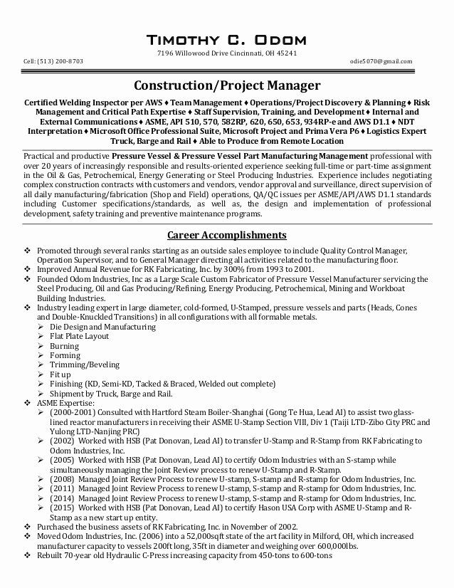 Construction Project Coordinator Resume Luxury Tco Construction Project Manager Resume Rev 01 Project Manager Resume Project Management Nursing Resume Template