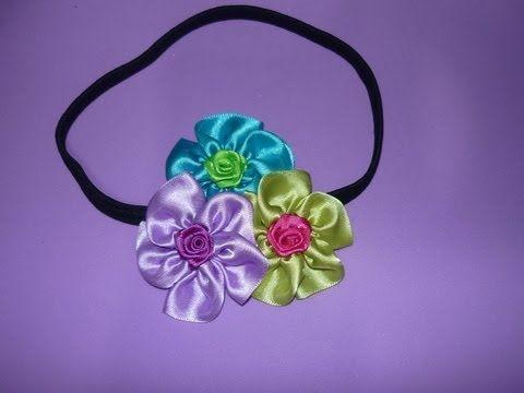 tutorial moños para niñas  decoradosc con flores pequeñas en cinta de raso  No.112 - YouTube