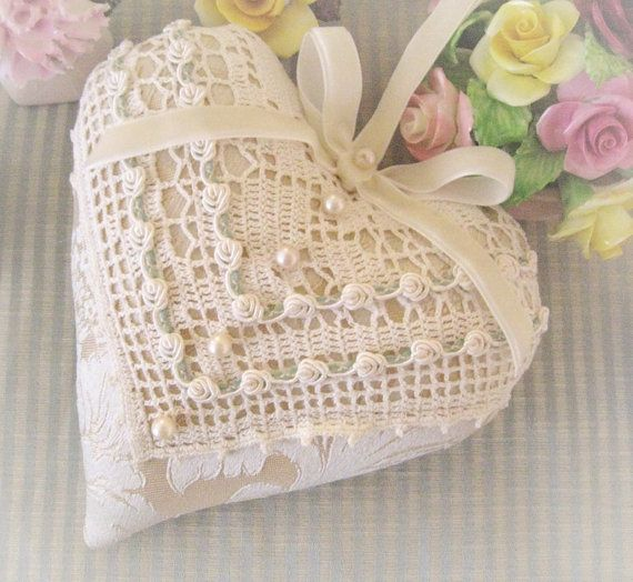 Valentine Heart Pillow 6 X 6 Door Hanger by CharlotteStyle on Etsy, $23.00