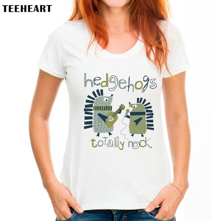 TEEHEART Hedgehog Hug Women Funny Loose Round Neck Short Sleeve Print T-shirt Ladies Tops Tees pc292