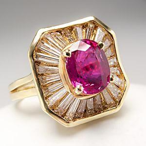 Natural Ruby & Diamond Ballerina Cocktail Ring 18K Gold - EraGem