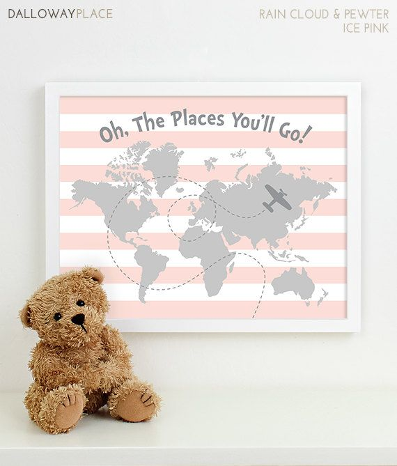 Nursery Ideas And Décor To Inspire You: Oh The Places You'll Go Print Nursery Travel Map Art For