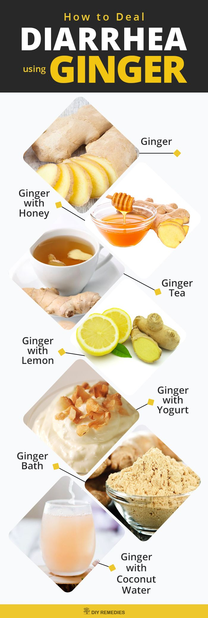 How to Deal Diarrhea using Ginger    Ginger not only effectively used to treat diarrhea but also helps you to deal with its symptoms like upset stomach, bloating and nausea.    #DIYRemedies #Diarrhea
