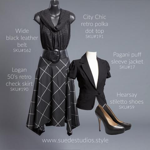 Suede Studios Style: City Chic retro polka dot top, Logan check skirt, wide leather belt, Hearsay stiletto shoes & Pagani puff sleeve jacket.