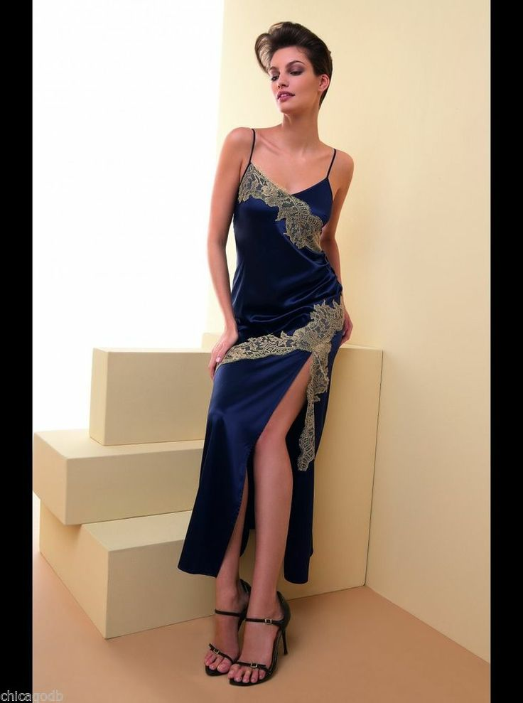 "Lise Charmel ""Recital Bleu"" long silk nightgown...available at Katerina's Closets - eBay"