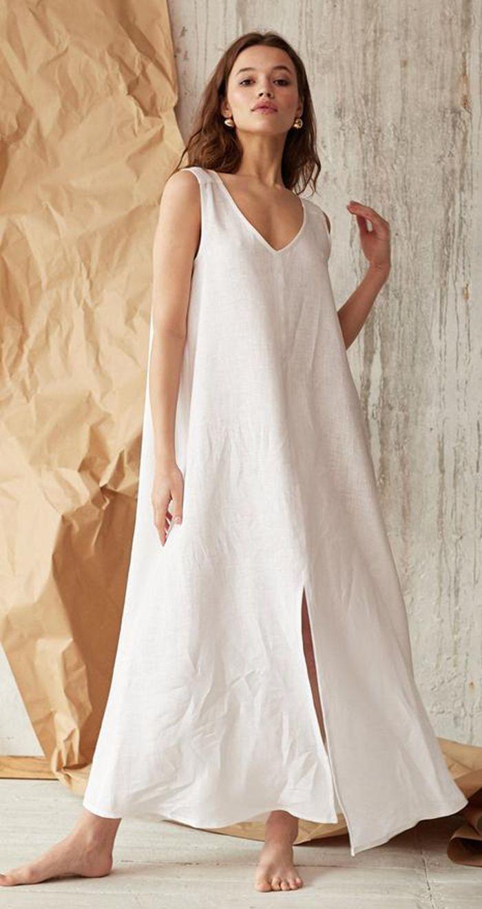 White Extra Long Loose Linen Dress Linen Slip Dress Linen Dress Women Dresses [ 1320 x 700 Pixel ]