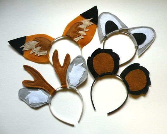 Set Of Four Woodland Animals Headbands, Child's Imaginary Play on Etsy, $25.00