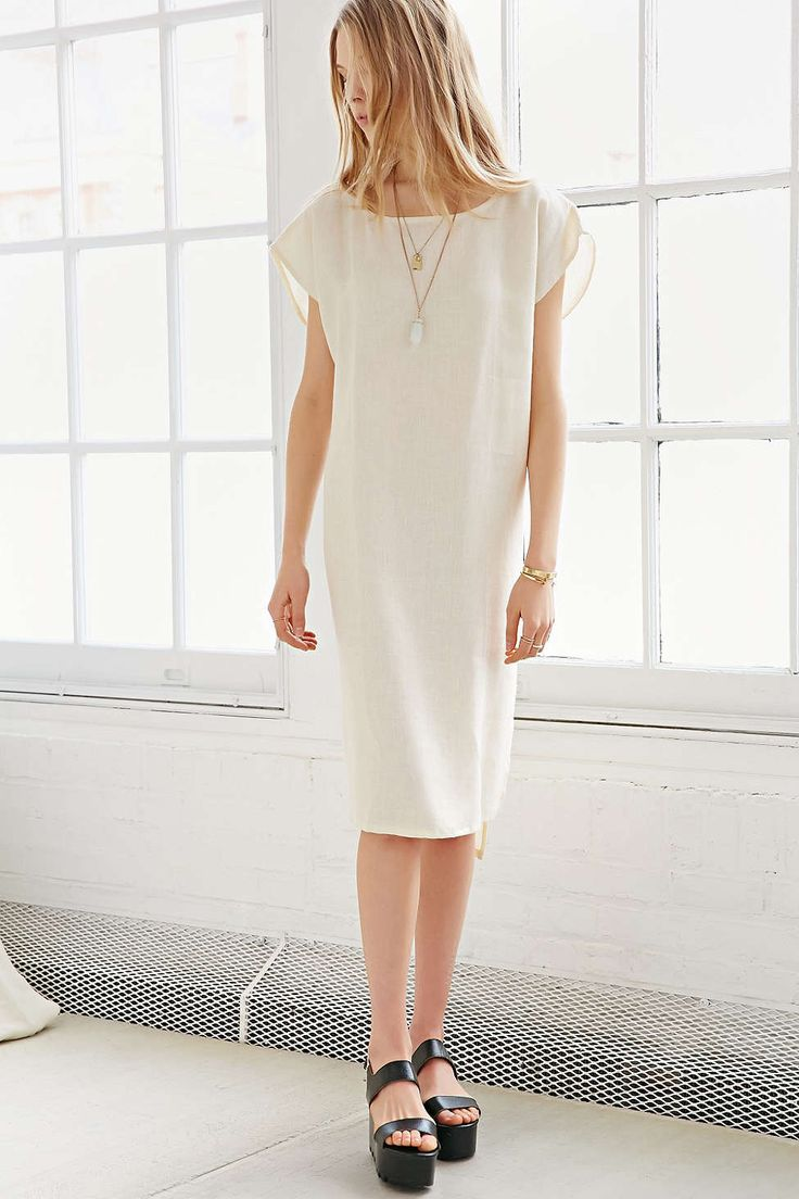 linen dress with lace-up detail at back
