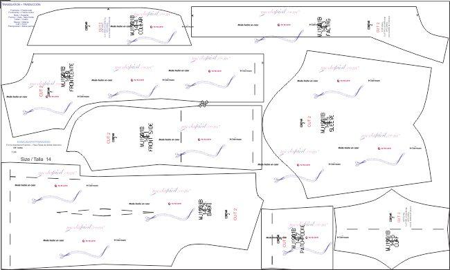 Descarga los patrones de la Blusa de Uniforme de Trabajo Disponible en 15 tallas Lista para cortar
